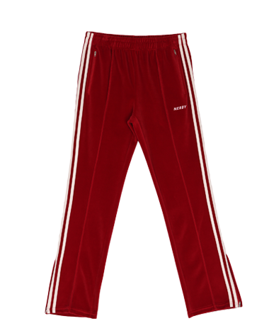 Velour Track Pants Burgundy