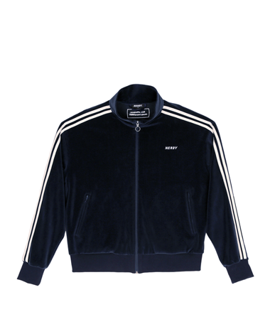 Velour Track Top Navy