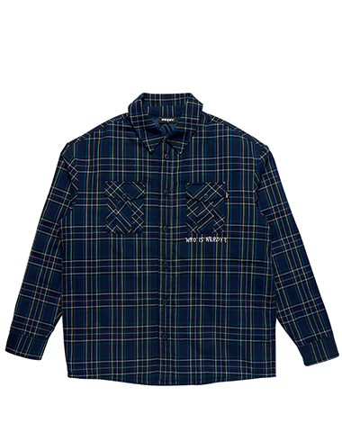 Padded Flannel Shirt Jacket Navy