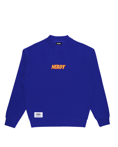 Brushed High-neck Sweatshirt Blue