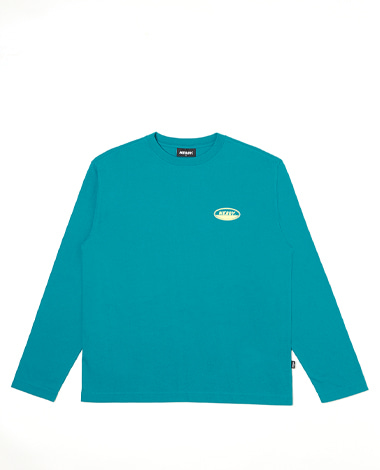 Oval Logo Long Sleeve T-shirt Teal Blue