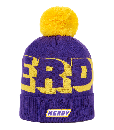 Multi Color Logo Ball Beanie Purple