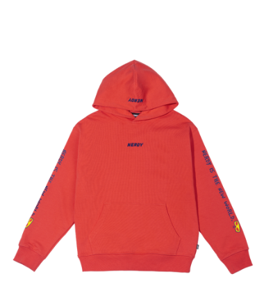 Lettering Pullover Hoodie Coral