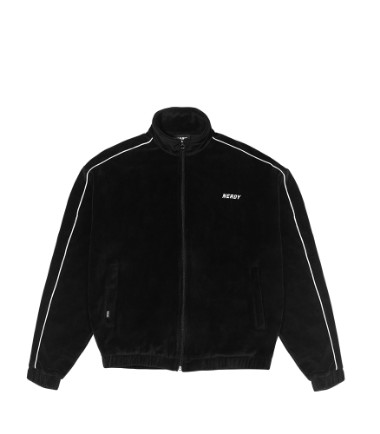 Velour Piping Track Top Black
