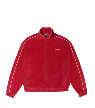 Velour Piping Track Top Red